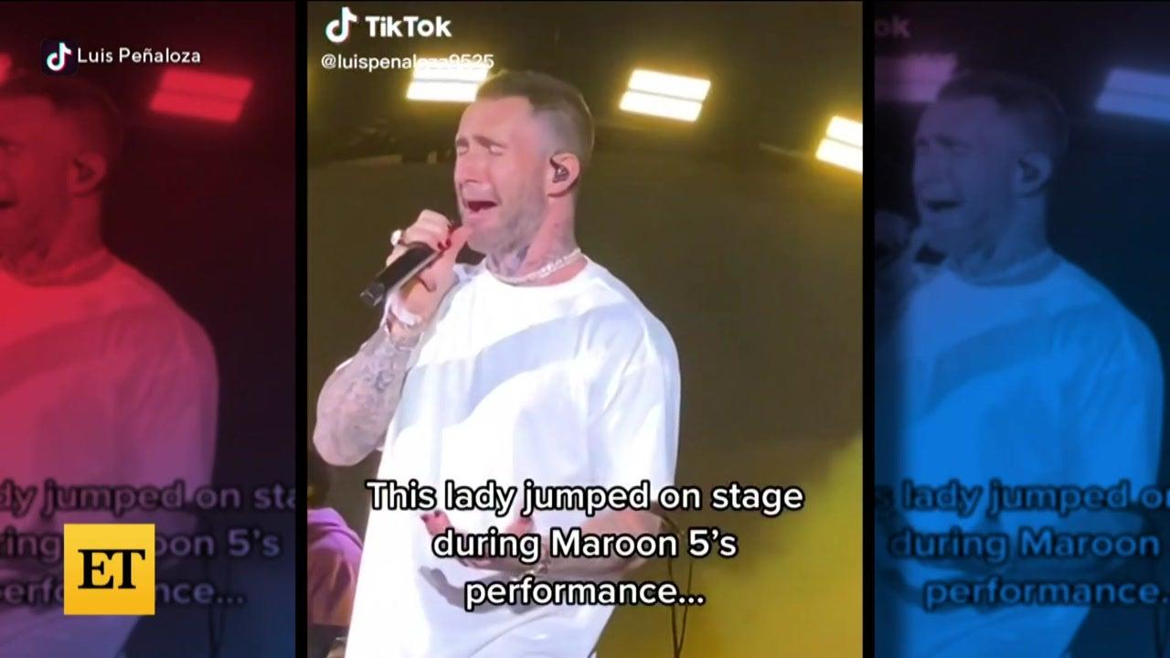 Watch Adam Levine React to Stage Crasher
