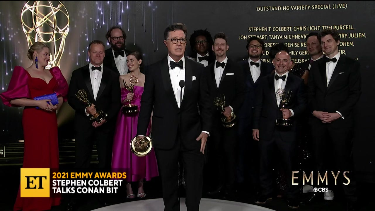 2021 EMMYS: Stephen Colbert Talks Win, Conan Bit